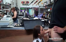 Sexy girl sucking cock in a pawn shop