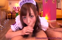 Little Japanese maid pleases 4 guys