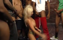 Busty blonde Rachele Richey blowing black cocks