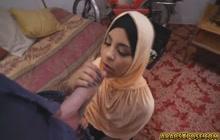 Girl in hijab giving fellatio