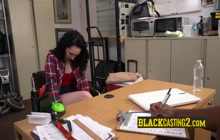 Casting interview gets naughty with horny teen and a big black cock.
