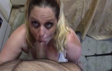 Cock hungry milf enjoys swallowing hard cock